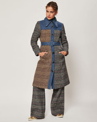 Tartan Medium Office Style Elegant Style Trench Coats