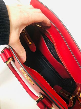 PRADA Leather Logo Shoulder Bags