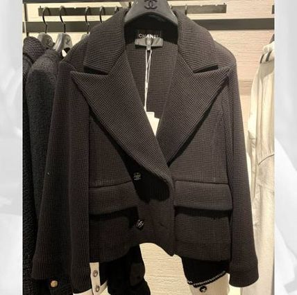 CHANEL ICON Casual Style Blended Fabrics Plain Medium Office Style