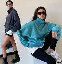 Cable Knit Sweat Nylon Street Style Long Sleeves Plain