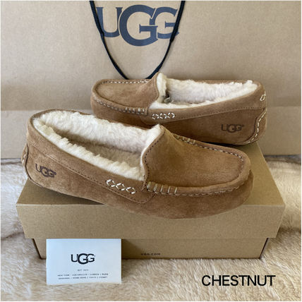 Plain Toe Moccasin Rubber Sole Casual Style Sheepskin Suede