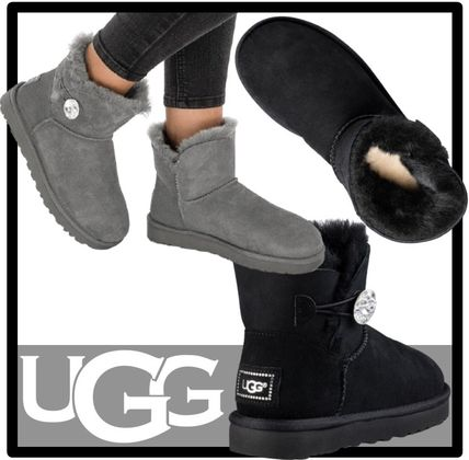 UGG Australia MINI BAILEY BUTTON Casual Style Suede Fur Street Style Flat Boots