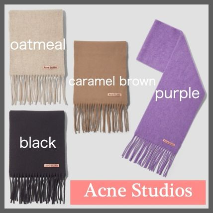 Unisex Wool Plain Logo Knit & Fur Scarves