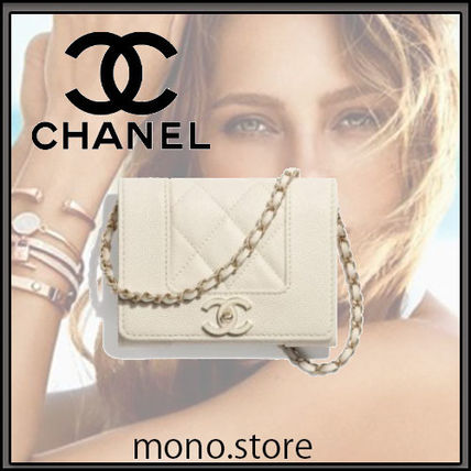 CHANEL Lambskin Plain Logo Shoulder Bags
