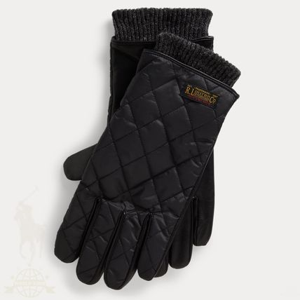 Ralph Lauren Plain Leather Logo Leather & Faux Leather Gloves