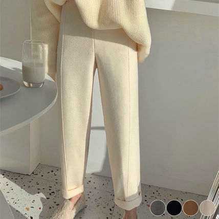 Casual Style Plain Cotton Long Center Pressed Elegant Style