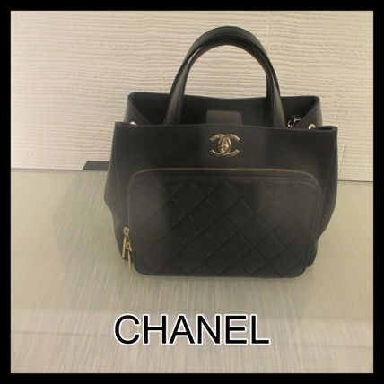 CHANEL ICON Casual Style 2WAY Chain Leather Office Style Elegant Style