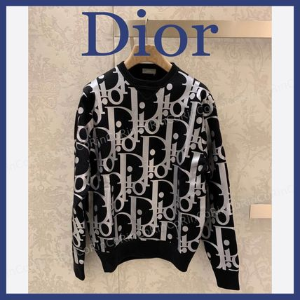 Christian Dior Crew Neck Wool Street Style Long Sleeves Logo Luxury