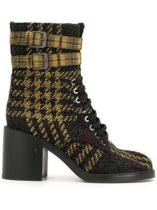 Other Plaid Patterns Round Toe Casual Style Leather