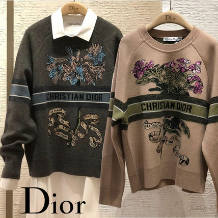 Christian Dior Crew Neck Flower Patterns Casual Style Street Style