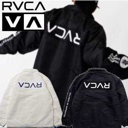 RVCA Unisex Nylon Plain Coach Jackets Logo Coach Jackets