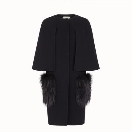 FENDI Wool Fur Plain Long Elegant Style Coats
