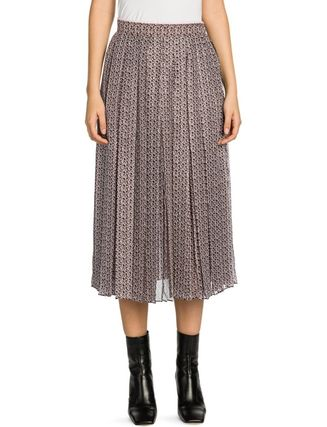 FENDI Monogram Silk Pleated Skirts Medium Elegant Style Logo