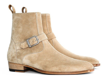 Suede Street Style Plain Leather Boots