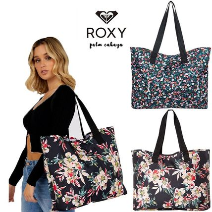 ROXY Flower Patterns Tropical Patterns Casual Style A4 Logo Totes