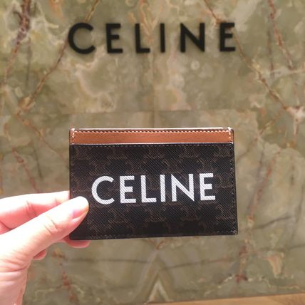 CELINE Triomphe Canvas Card Holder In Triomphe Canvas With Celine Print