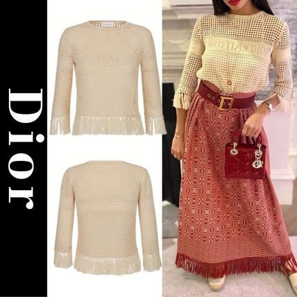 Christian Dior Casual Style Cropped Cotton Fringes Elegant Style Logo