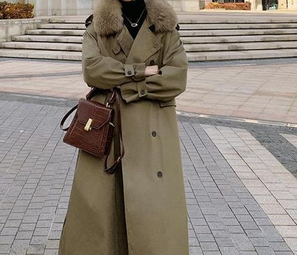Front Button Stand Collar Coats Casual Style Faux Fur Plain