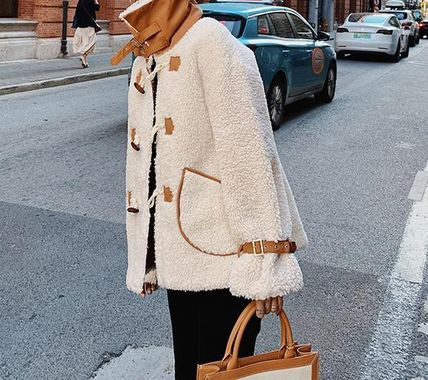 Shearling Front Button Casual Style Faux Fur Blended Fabrics