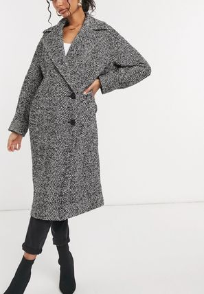 Casual Style Wool Medium Long Office Style Oversized
