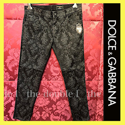 Dolce & Gabbana Skinny Flower Patterns Denim Street Style Cotton Logo Skinny Jeans
