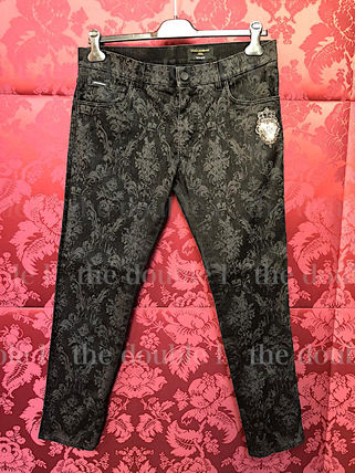 Dolce & Gabbana Skinny Flower Patterns Denim Street Style Cotton Logo Skinny Jeans 2