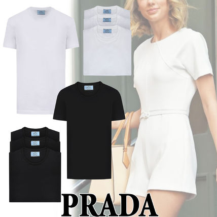 PRADA Plain Cotton Short Sleeves Logo T-Shirts