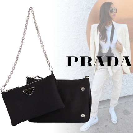 PRADA Nylon Plain Logo Shoulder Bags