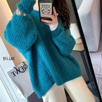 Crew Neck Cable Knit Casual Style Unisex Nylon Street Style