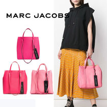 MARC JACOBS THE TAG TOTE Casual Style Unisex Vanity Bags A4 2WAY Plain Leather