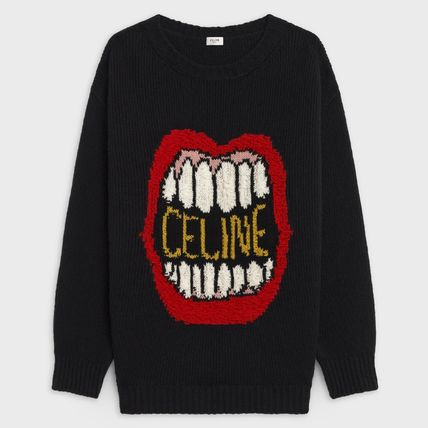 CELINE Sweaters Crew Neck Pullovers Wool Cashmere Blended Fabrics 3