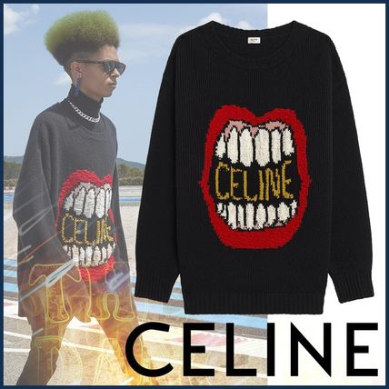 CELINE Sweaters Crew Neck Pullovers Wool Cashmere Blended Fabrics