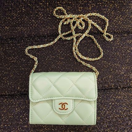 CHANEL CHAIN WALLET Casual Style Lambskin 2WAY Plain Leather Party Style