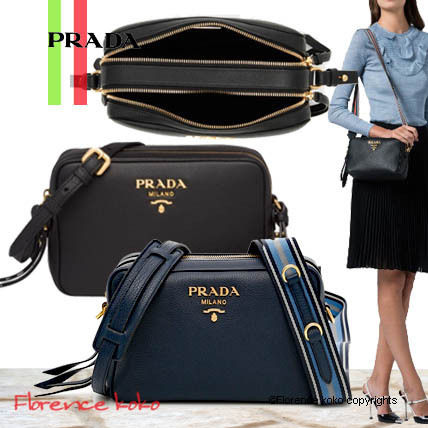 PRADA Calfskin 2WAY Plain Elegant Style Crossbody Shoulder Bags