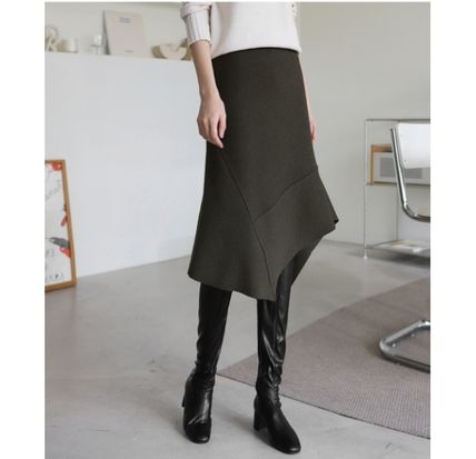 INDIBRAND Flared Skirts Casual Style Wool Plain Medium Long