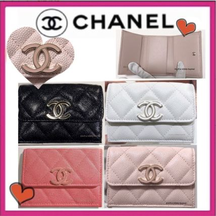 CHANEL MATELASSE Unisex Calfskin Plain Folding Wallet Small Wallet