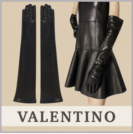 VALENTINO Plain Leather Logo Leather & Faux Leather Gloves