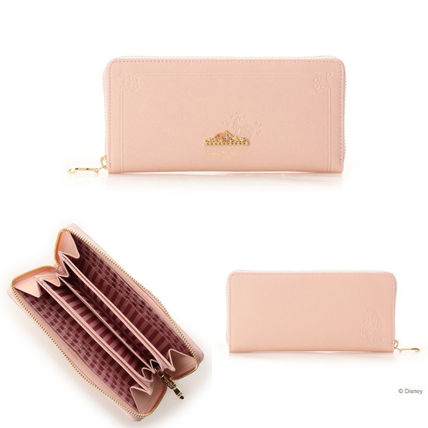 Plain Leather With Jewels Long Wallet  Logo Long Wallets