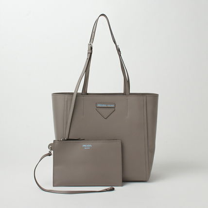 PRADA Plain Leather Elegant Style Logo Totes