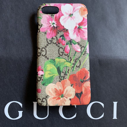 GUCCI Gucci Ghost Flower Patterns Star Unisex Blended Fabrics Leather iPhone 8