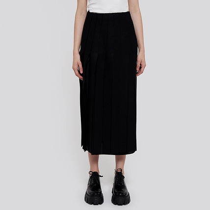 PRADA Casual Style Wool Pleated Skirts Plain Long Party Style