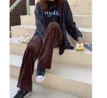 Casual Style Corduroy Suede Street Style Plain Long