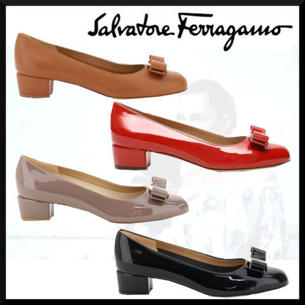Salvatore Ferragamo Round Toe Casual Style Plain Leather Chunky Heels
