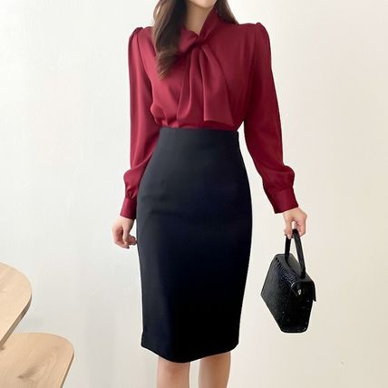 Pencil Skirts Plain Medium Office Style Formal Style