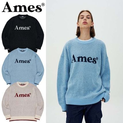 AMES-WORLDWIDE Sweaters Crew Neck Pullovers Unisex Street Style Long Sleeves