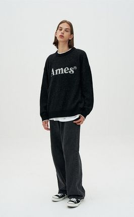 AMES-WORLDWIDE Sweaters Crew Neck Pullovers Unisex Street Style Long Sleeves 3