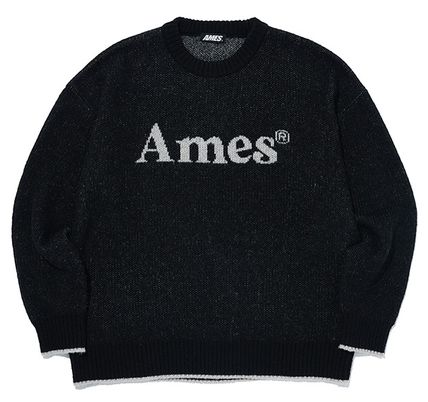 AMES-WORLDWIDE Sweaters Crew Neck Pullovers Unisex Street Style Long Sleeves 4