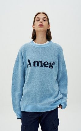 AMES-WORLDWIDE Sweaters Crew Neck Pullovers Unisex Street Style Long Sleeves 7