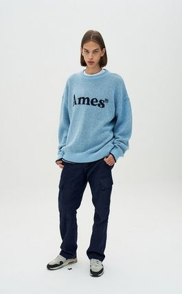 AMES-WORLDWIDE Sweaters Crew Neck Pullovers Unisex Street Style Long Sleeves 9