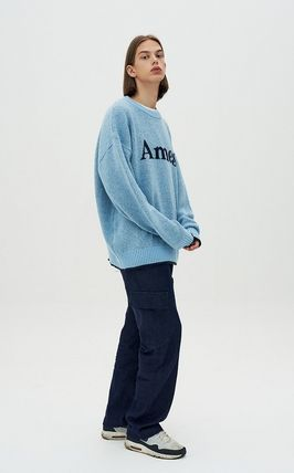 AMES-WORLDWIDE Sweaters Crew Neck Pullovers Unisex Street Style Long Sleeves 10